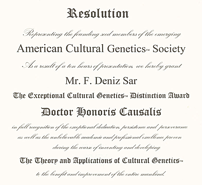 American Cultural Genetics Society - Doctor Honoris Causalis Award - New York - USA - 2001